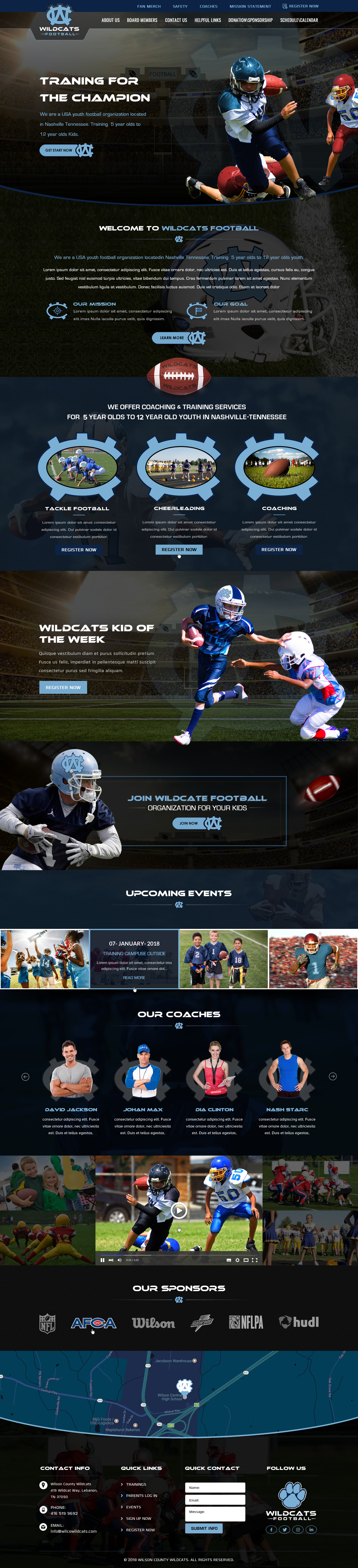 Youth Football League Web Design - Sports