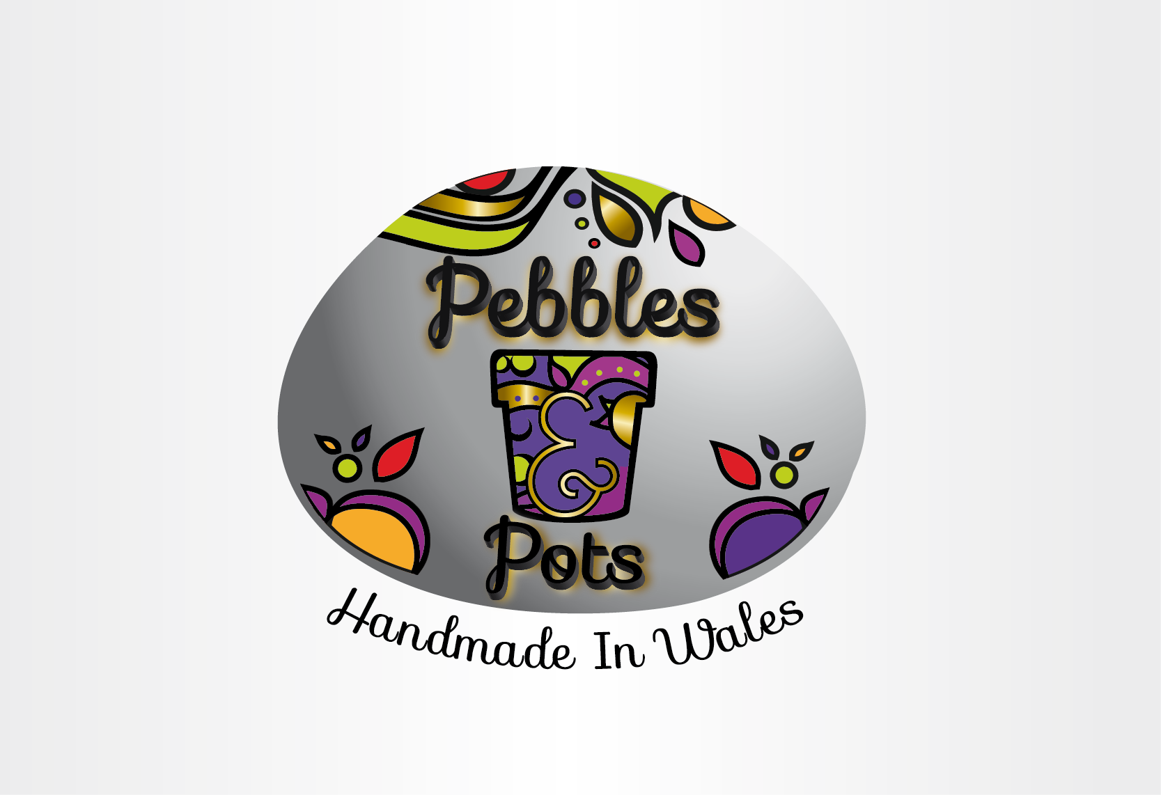 Logo for Artisan maker of colourful pebbles and pots - Handmade Crafts Logo