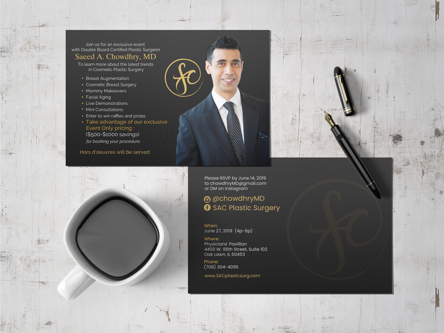Postcard/Flyer design for Plastic Surgery Practice Open House - Medical