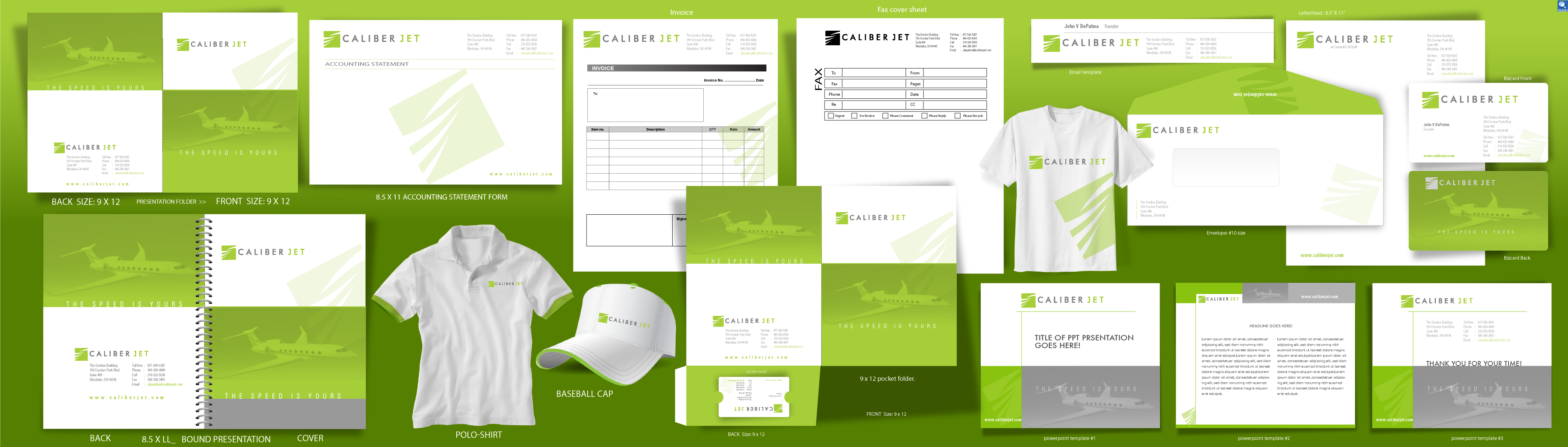 bizcards, stationary, envelopes,  powerpoint template, invoice template, polo shirts, email template - Aviation
